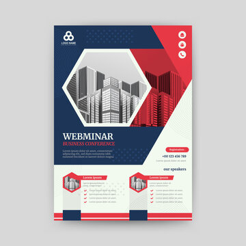 Webinar flyer template with red and blue color, size a4. Vector