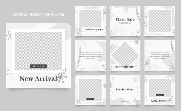 social media template banner fashion sale promotion. fully editable instagram and facebook square post frame puzzle organic sale poster. black grey white floral vector background