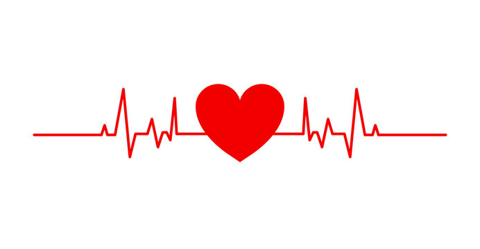 Red heart beat isolated on white background. Heart vector illustration. Heart rate icon, symbol, logo
