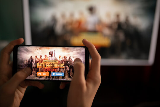 New York, USA - February 8, 2021: pubg game on Android smartphone, mobile gamin