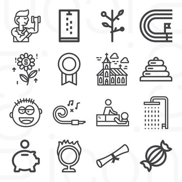 16 pack of invitation  lineal web icons set