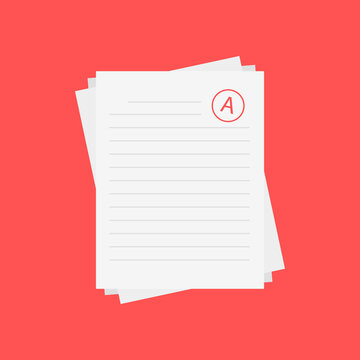 Evaluation system. Letters and grades of the teacher on paper. Vector flat illustration.