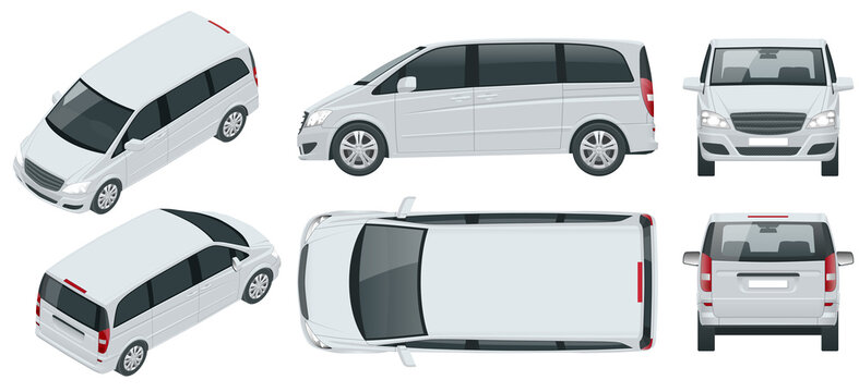 Electric Minivan with Premium Touches, Passenger Van Car vector template on background. Multi purpose vehicle, people carrier mover, SUV, 5-door minivan car. View isometric, front, rear, side, top.