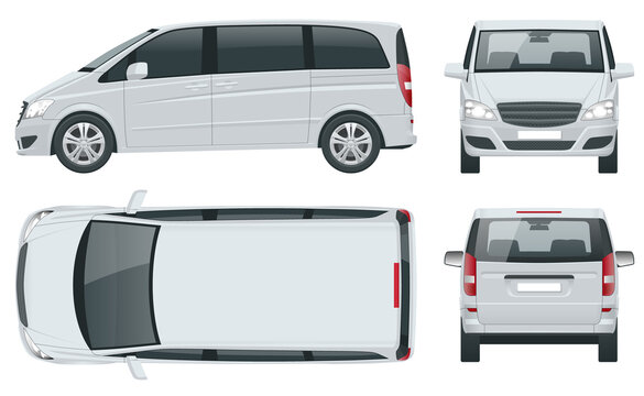 Electric Minivan with Premium Touches, Passenger Van or Minivan Car vector template on white background. MPV, SUV, 5-door minivan car. View front, rear, side, top.