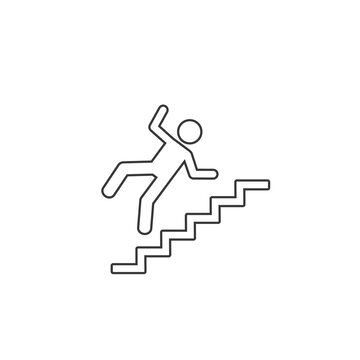 Warning sign risk falling stairs. Vector line icon