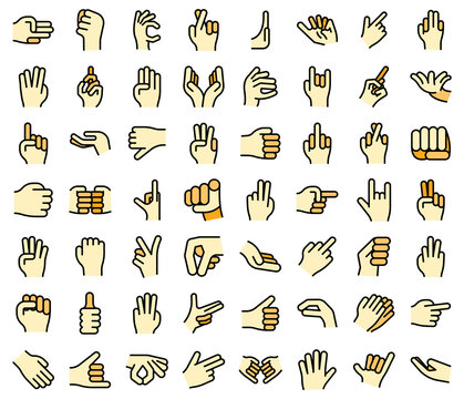 Hand gestures icons set. Outline set of hand gestures vector icons thin line color flat on white