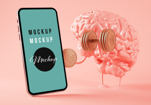 Brain Training and Smartphone on Pink Background