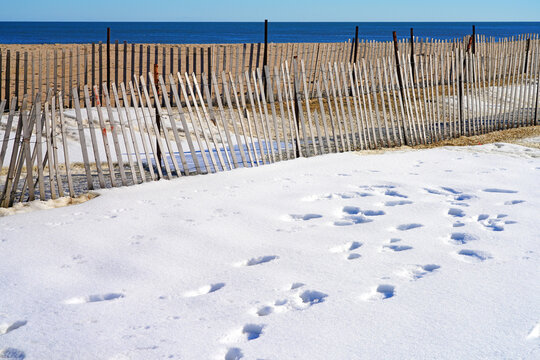 Snow on the beach on the New Jersey Shore after a winter storm