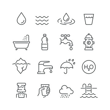 Water related icons. Editable stroke. Thin vector icon set