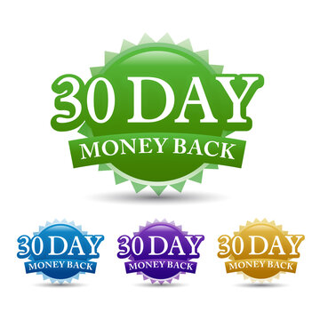30-day money-back guarantee label vector image, isolated on white background. Vector design