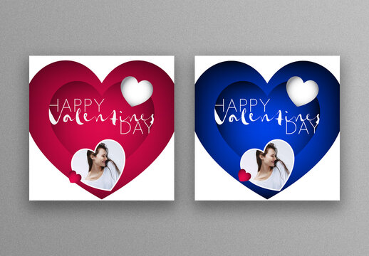 Red and Blue Valentine's Day Social Media Layouts