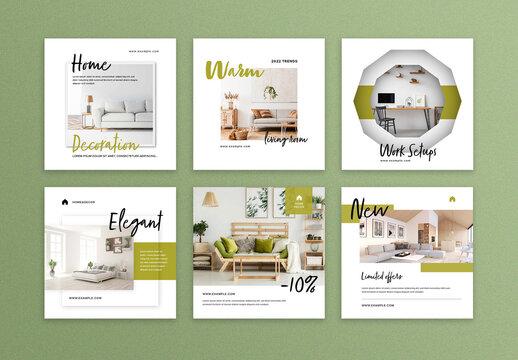 Interior Design Social Media Post Layouts