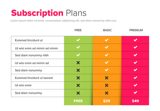 Subscription Plan Table Layout with Bright  Elements