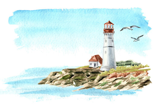 Seascape with rocks and an old lighthouse, Hand drawn watercolor illustration, isolated on white background