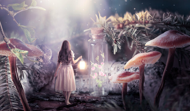 Girl in dress with shining lantern in hand walking in fantasy fairy tale elf forest, ghost blooming rose flower locked in bottle and moon rays, mysterious fir tree and mushrooms in magical elvish wood