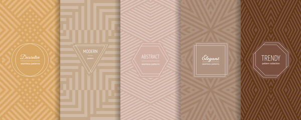 Fototapeta Vector abstract geometric seamless patterns collection. Set of stylish backgrounds with elegant minimal labels. Abstract modern line ornament textures. Trendy pastel color. Design for print, decor obraz