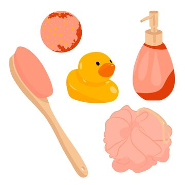 Vector illustration of a set of bathroom fixtures. The set includes a bow scrubber, brush, duck, gel and bath bomb. All items are in beige and pink with a white background. Bathroom stickers.