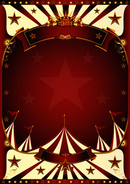 Red vintage circus background. A circus vintage poster for your entertainment