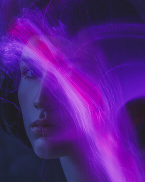 a mystical futuristic portrait of a girl with an experimental neon light. light abstract lines, lightning electricity on the face. achromatic with distorted makeup.