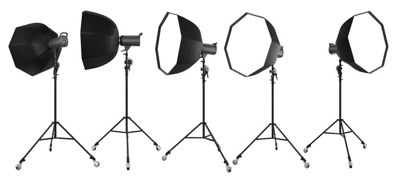 Photo studio lighting stands with flash and octobox isolated on the white.