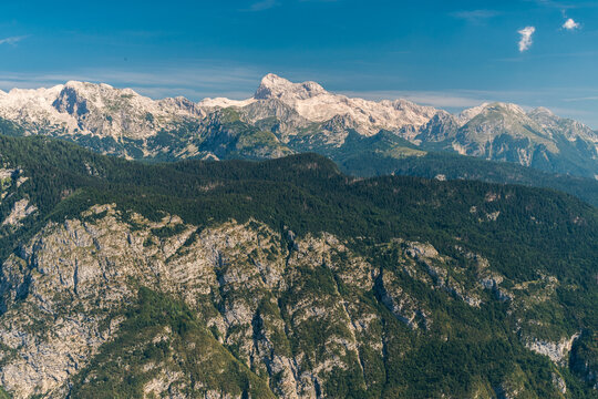 The mount Triglav, the highest peak in Slovenia, as seen from the Vogel touristic area