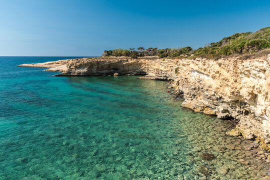 Rocky coastline in the Gelsomineto area, near Siracusa