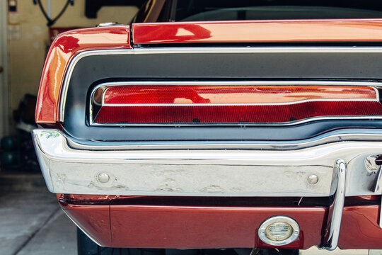 Taillight close up on a retro American sport car