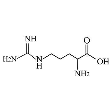 Arginine amino acid. Chemical molecular formula Arginine amino acid. Vector illustration on isolated background