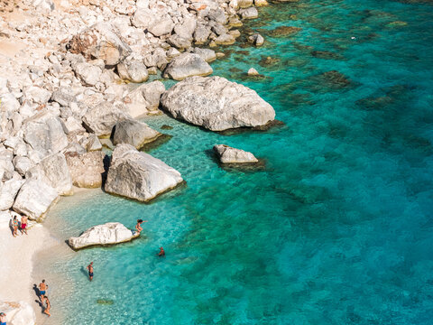 The coastline in Cala Goloritze, famous beach in the Orosei gulf, during the summer (Sardinia, Italy)