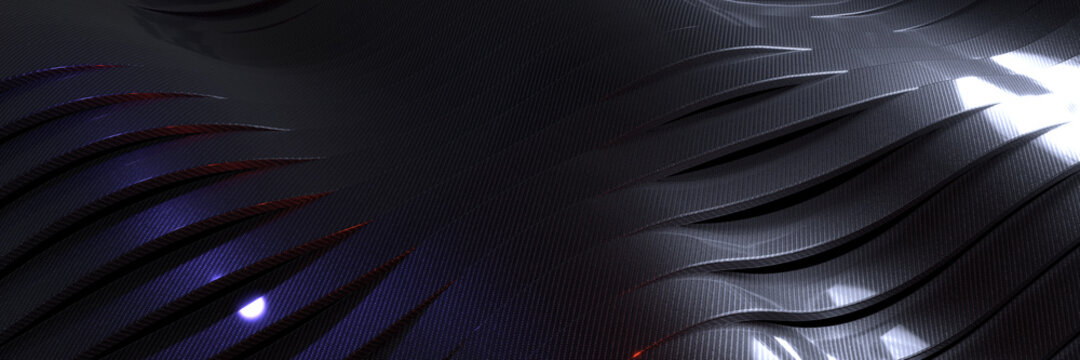 Abstract technological background made of carbon fiber with smooth curves. 3D rendering