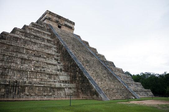 Closeup low angle view of theMayan stepped pyramid Chichen Itza at Yucatan Peninsula, Mexico