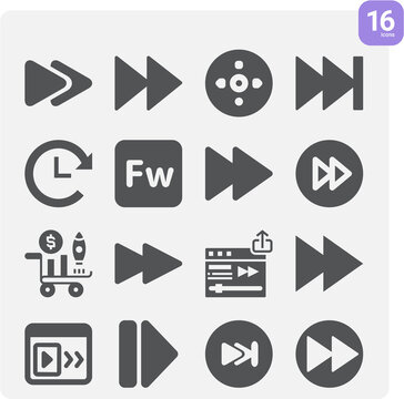 Simple set of advancing related filled icons.