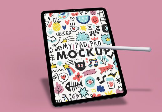 One Tablet Pro Mockup for App Design with Digital Pencil on Purlple Pink Background