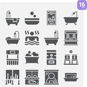 Simple set of shower stall related filled icons.