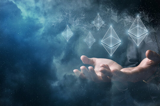 Hands support ethereum against the background of the network .