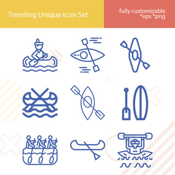 Simple set of kayak related lineal icons.