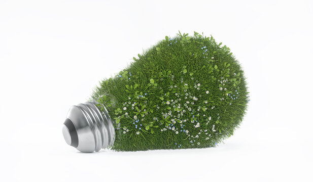 grass flowers bulb eco friendly green energy isolated render 3d