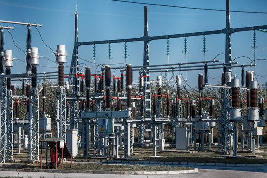 Closeup shot of an electrical substation