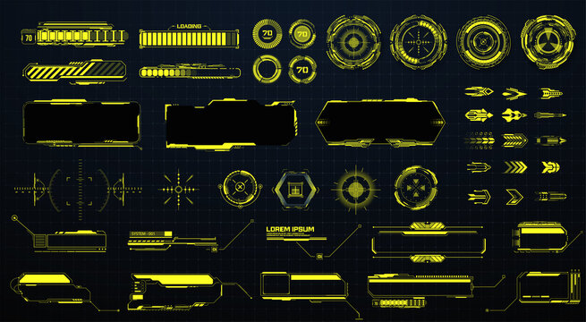 GUI, HUD, UI futuristic elements set. Sci Fi  Holographic hud user interface elements, high tech bars and frames. Isolated arrows, pointers, loading, circles, sight, callout bar labels. Vector