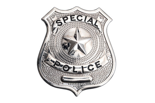 Protect and serve, law enforcement agent and blue lives matter concept with shiny metallic police officer badge isolated on white background with clipping path cutout