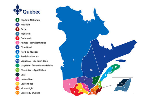 Province of Quebec administrative map