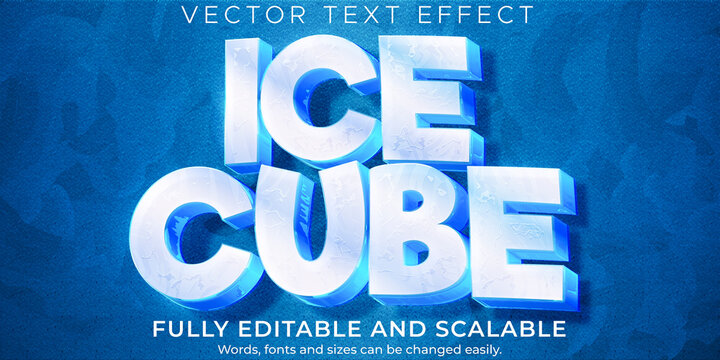 Ice frozen text effect, editable cold and frost text style