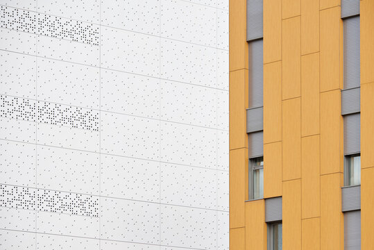 White and yellow building exteriors.