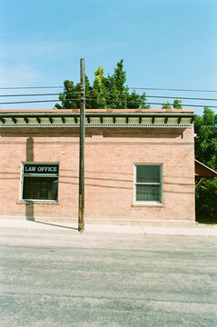 Brick building law office in small quiet town