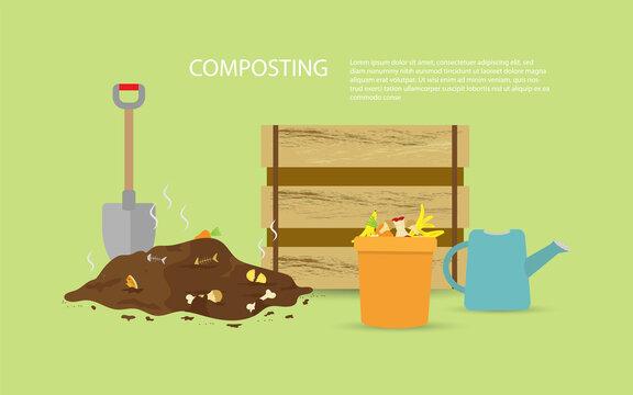 Compost illustration, compost bin  with organic waste illustration for waste composting,  waste recycling concept for compost organic waste vector illustration.