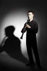 Clarinet player portrait classical musician playing