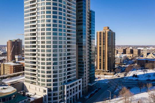Milwaukee, WI USA - February 09, 2021: Aerial view of the University Club condos