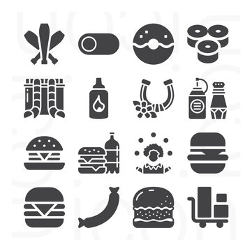 16 pack of loads  filled web icons set