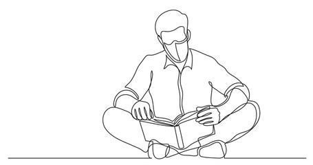 Wall Mural - continuous line drawing of man sitting on floor reading book wearing face mask