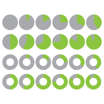 Flat green loading circles for report design. Status bar icon. Vector design template. Stock image. EPS 10.